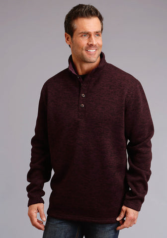 Stetson Mens Wine Polyester 1/4 Button Pullover Sweater