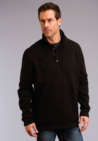 Stetson Mens Black Polyester 1/4 Button Pullover Sweater