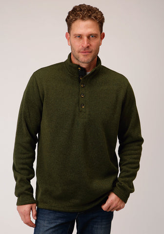 Stetson Mens Green Olive Polyester 1/4 Button Pullover Sweater