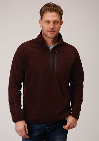 Stetson Mens Wine Polyester 1/4 Zip Pullover Sweater