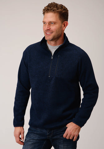 Stetson Mens Navy Polyester 1/4 Zip Pullover Sweater