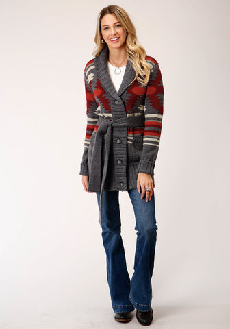 Stetson Womens Red/Gray Acrylic Aztec Belt Cardigan