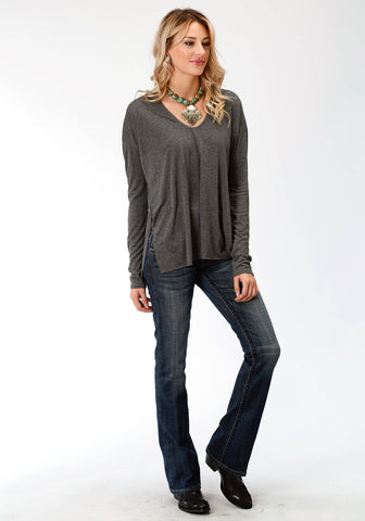 Stetson Womens Charcoal Heather Rayon Raw Edge L/S T-Shirt