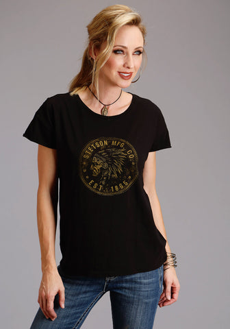Stetson Womens Black 100% Cotton Indian Coin S/S T-Shirt