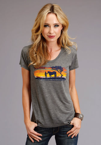 Stetson Womens Grey Poly/Rayon Horse Scene S/S T-Shirt