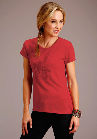 Stetson Womens Red Cotton Blend Riding Cowgirl S/S T-Shirt