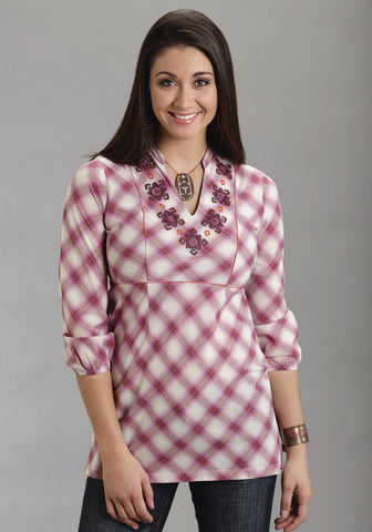 Stetson Womens Pink 100% Cotton 3/4 Sleeve Plaid Tunic Top Embroidered