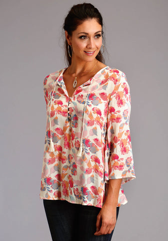 Stetson Womens Pink Rayon/Nylon Watercolor Floral S/S Blouse