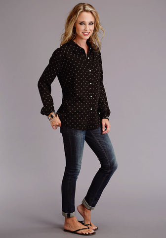 Stetson Womens Black Rayon/Nylon Horseshoe L/S Blouse