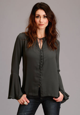 Stetson Womens Dark Grey Rayon/Nylon V-Neck Crepe L/S Blouse