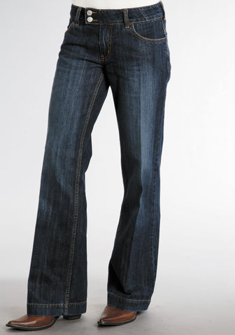 Stetson Womens Blue 100% Cotton Dark Wash City Trouser Flared Jeans