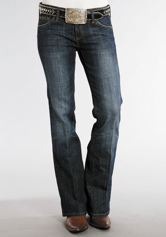 Stetson Womens Blue Cotton Blend Dark Wash Boot Cut Stitch Jeans