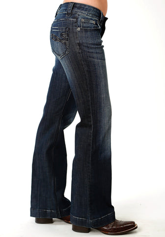 Stetson 214 Womens Blue Cotton Blend S Embroidered Jeans