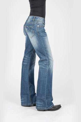 Stetson Womens Blue Cotton Blend 214 Diagonal Jeans