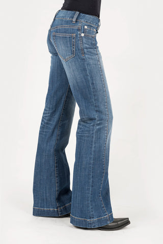 Stetson Womens Blue Cotton Blend 214 Contrast Pieced Jeans