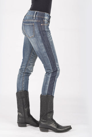 Stetson Womens Blue Cotton Blend Dark/Light Wash Jeans
