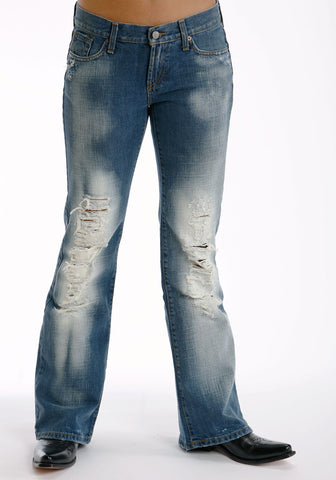 Stetson Womens Blue Cotton Blend Destructed Whiskey Wash Flared Jeans