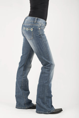 Stetson 818 Womens Blue Cotton Blend Aztec Jeans