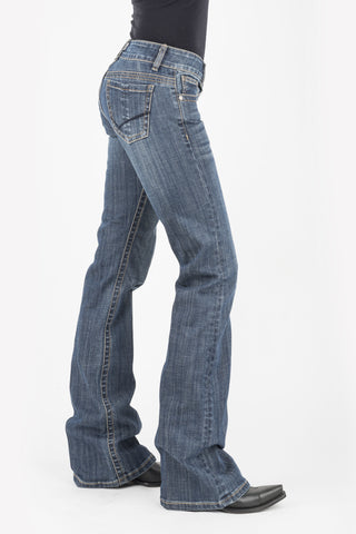 Stetson Womens Blue Cotton Blend Vertical Seaming 816 Fit Jeans