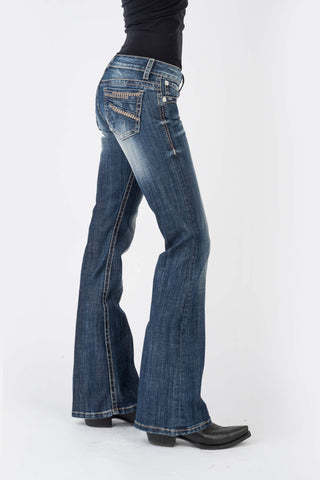Stetson Womens Blue Cotton Blend 816 Plain Back Jeans
