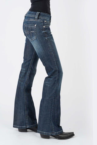 Stetson Womens Blue Cotton Blend 816 Arrow Deco Jeans