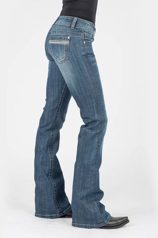 Stetson Womens Blue Cotton Blend 816 Box Stitch Jeans