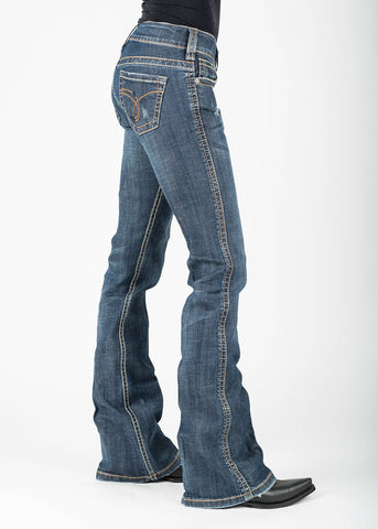 Stetson Womens Blue Cotton Blend Lasso Loop Jeans