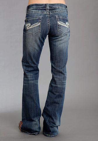Stetson Womens Blue Cotton Heavy S Deco Stitch Boot Cut Jeans