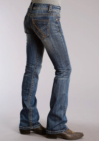 Stetson 818 Womens Blue Cotton Blend X Pieced Jeans