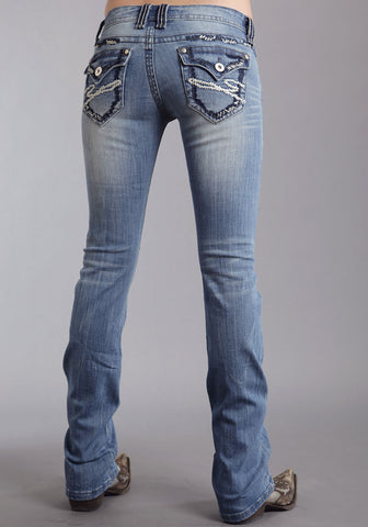 Stetson Womens Blue Cotton Blend Heavy Stitch Boot Cut 818 Fit Jeans