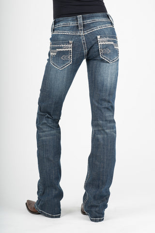Stetson 818 Fit Ladies Blue Cotton Blend Arrow Pocket Deco Jeans