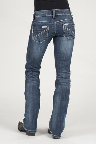 Stetson Womens Blue Cotton Blend Arrow Pieced Jeans