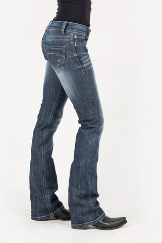 Stetson Womens Blue 100% Cotton Grey Arrow Jeans