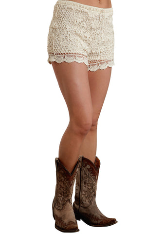 Stetson Ladies Cream 100% Cotton Crochet Lace Boyfriend Shorts