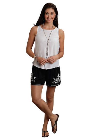 Stetson Ladies Black Rayon Twill Floral Embroidered Shorts
