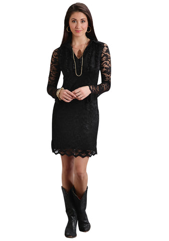 Stetson Ladies Black Polyester Stretch Lace Scallop L/S Dress