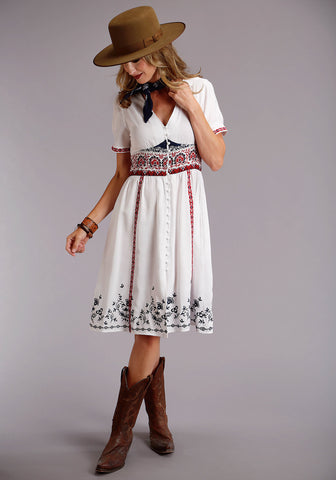 Stetson Swing Womens White Rayon/Nylon Herringbone S/S Dress