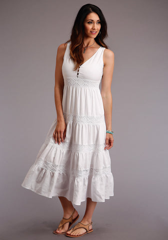 Stetson Womens White Linen Gathered Tier S/L Dress