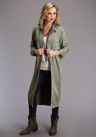 Stetson Womens Olive Tencel/Rayon Oversized L/S Dress