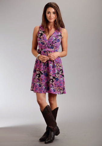 Stetson Wrap Ladies Pink Polyester Deep V Floral Print Sleeveless Dress