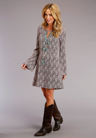 Stetson Womens Wine Rayon/Nylon Aztec Print L/S Dress