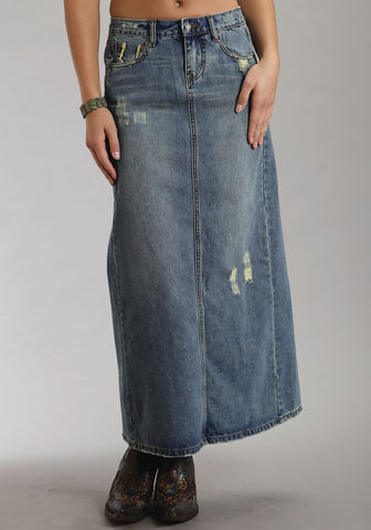 Stetson Womens Blue 100% Cotton Long Denim Back Slit Skirt Destructed