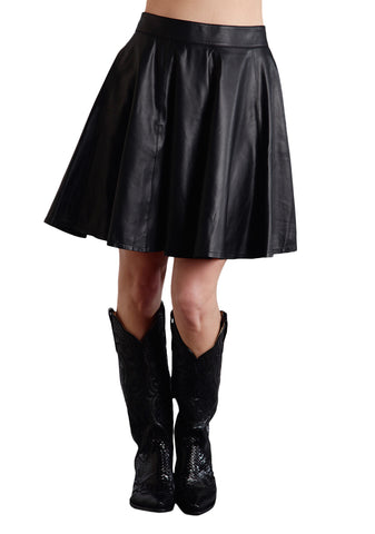 Stetson Ladies Black Leather Circle Pocket Lamb Skirt
