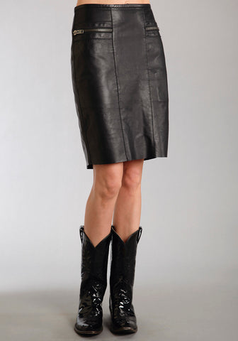 c212687f90576 Stetson Womens Black Smooth Lamb Leather Pencil Skirt Back Slit Biker