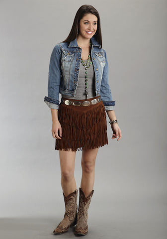 Stetson Womens Brown Mid Length Suede Leather Skirt Western Fringe Cowgirl