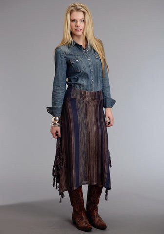 Stetson Tone Stripe Ladies Blue Cotton Blend Skirt