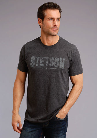 Stetson Unisex Heather Grey 100% Cotton Cream Logo S/S T-Shirt