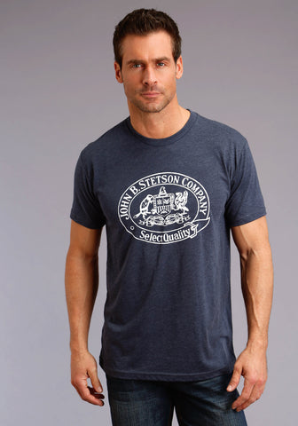 Stetson Unisex Heather Navy 100% Cotton Crest S/S T-Shirt