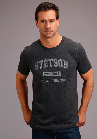 Stetson Mens Heather Grey Cotton Blend Philly S/S T-Shirt