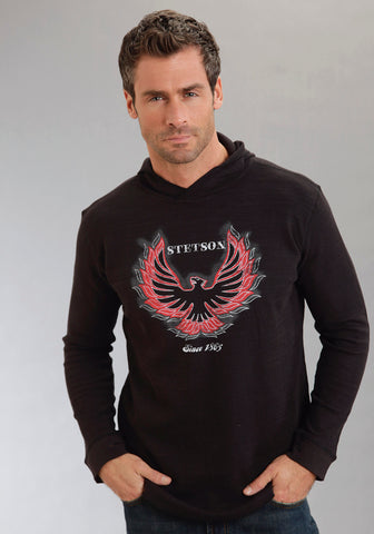 Stetson Mens Black Cotton Blend Thermal Slub L/S Hoodie Knit Firebird Shirt
